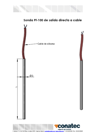 Direct output to cable Pt-100 probe