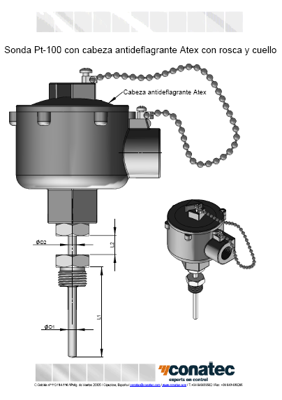 Probe with flameproof Atex head with thread and neck