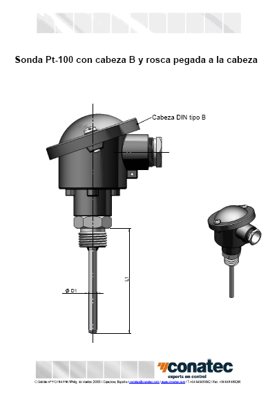 DIN B head with fixed thread attached to the head