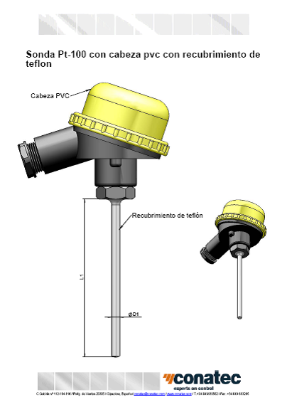 Probe with PVC head with Teflon coating