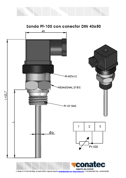 Pt-100 probe with DIN 43650 connector