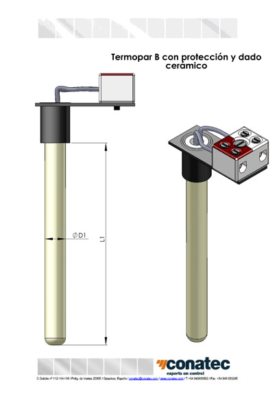 Thermocouple B with protection and ceramic die