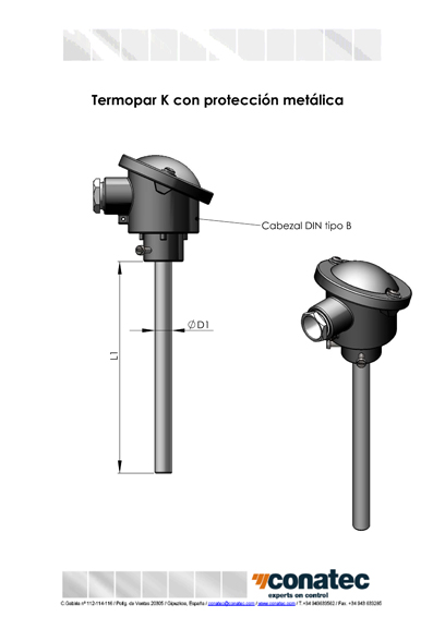 Thermocouple K with metal protection