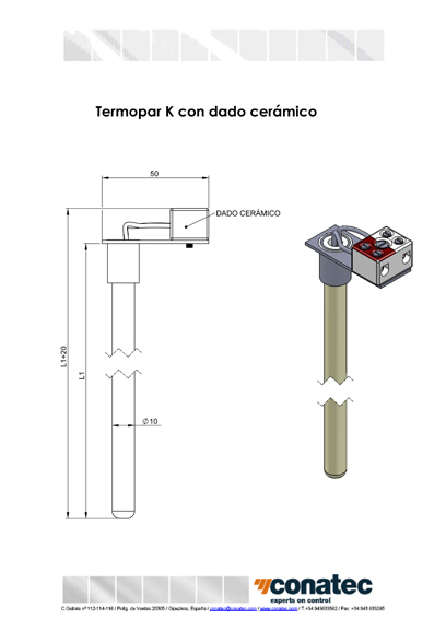 Thermocouple K with ceramic die