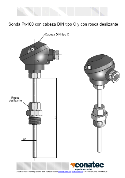 Probe with DIN head type C and lead thread