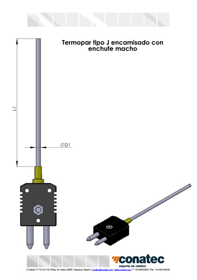 Thermocouple J jacketed with plug