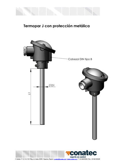 Thermocouple J straight with metal protection
