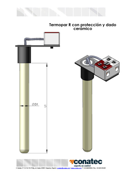 Thermocouple R with protection and ceramic die