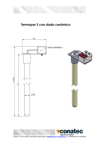 Thermocouple S with ceramic die