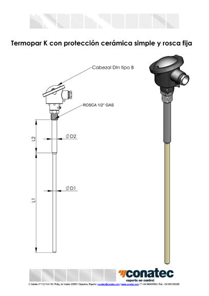 Thermocouple with single ceramic protection and fixed thread