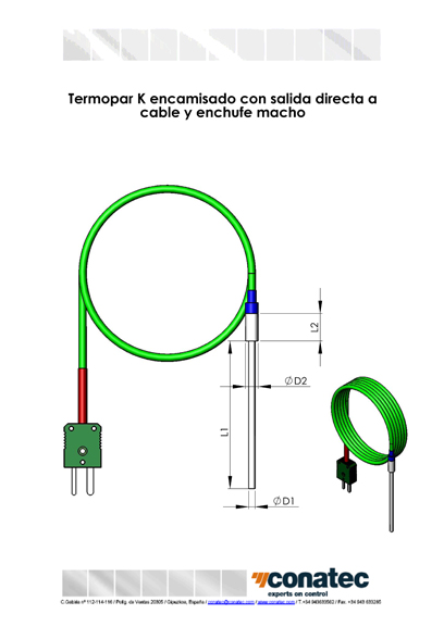 Jacketed thermocouple with cable and plug